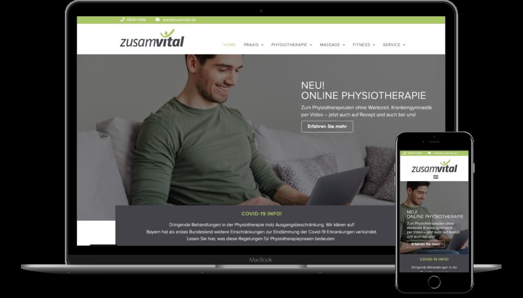 Physiotherapie Webseite zusamvital