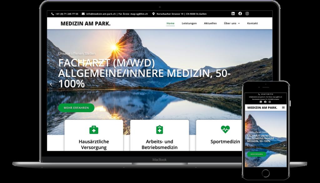 Webseite Arztpraxis Medizin am Park (Schweiz)