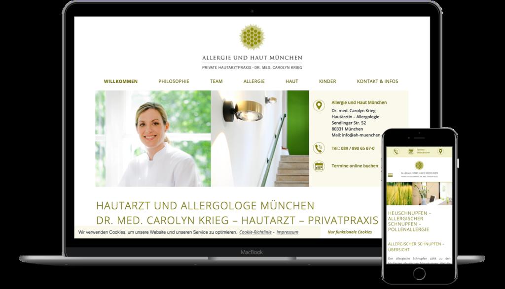 Responsive Webseite Privatpraxis Allergie und Haut, München