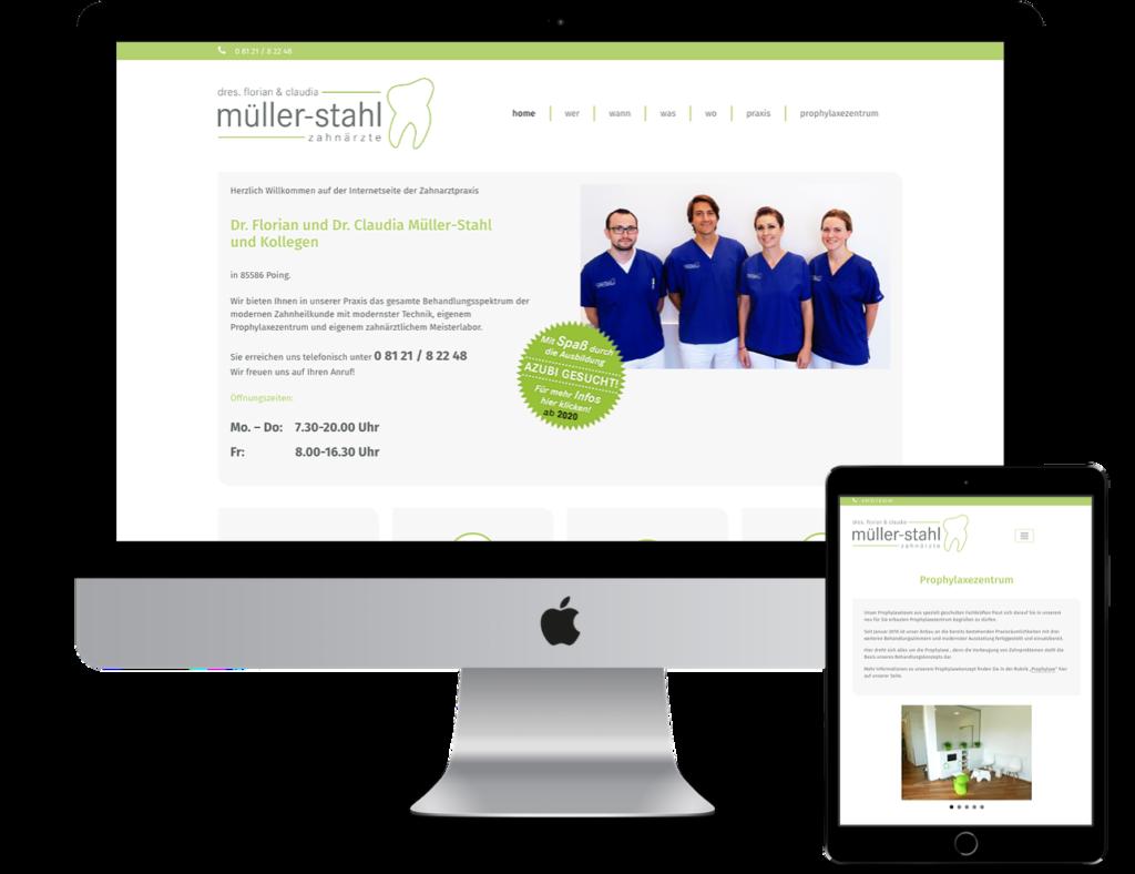 Webseiten für Ärzte - Zahnarztpraxis Dr. Müller-Stahl, Poing