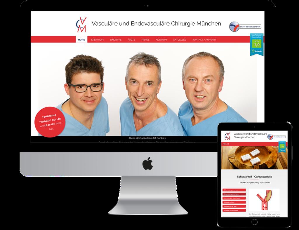 Webseiten für Ärzte - VCM München. Moderne CMS Internetseite