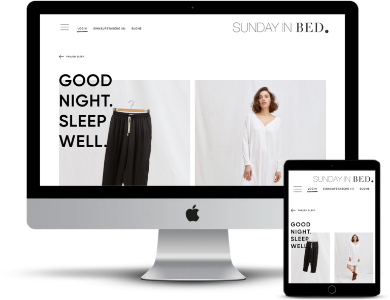 e commerce website Sunday in bed