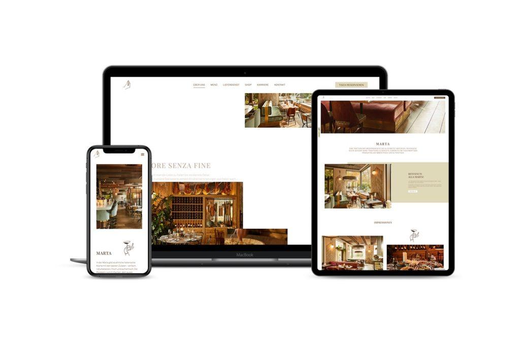Programmierung Webseite marta.restaurant
